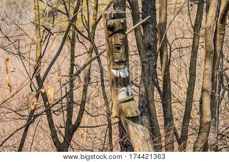 Wooded totem pole with white teeth in a wooded area in South Korea. Totems are a relic of past religious beliefs when Koreans believed village totems protected the village. This totem was found in a remote area on the side of Nosan Mountain in South Korea