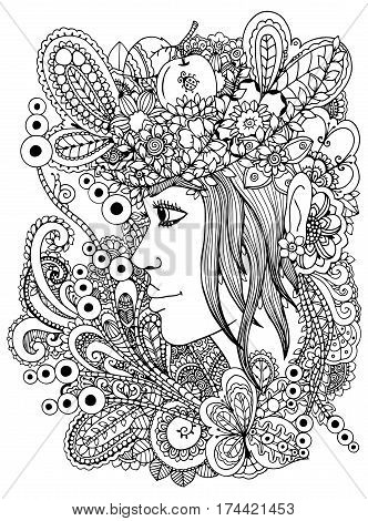 Vector illustration zentangl girl in the floral frame. Doodle drawing. Meditative exercise. Coloring book anti stress for adults. Black white.