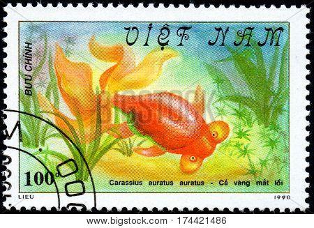 VIETNAM - CIRCA 2017: A Stamp printed in Vietnam shows beautiful fish Carassius auratus auratus series Goldfish circa 1990