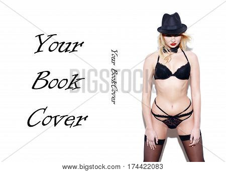 Sexy showgirl posing at white wall book cover template