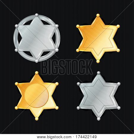 Sheriff Badge Star Vector Set. Different Types. Classic Symbol. Municipal City Law Enforcement Department. Isolated On Black