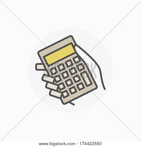 Hand holding calculator icon. Vector colorful accounting sign. Making calculations concept symbol or design element
