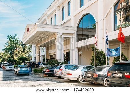 Batumi, Georgia - May 25, 2016: Cars Parked Near Sheraton Batumi Hotel In Sunny Summer Day