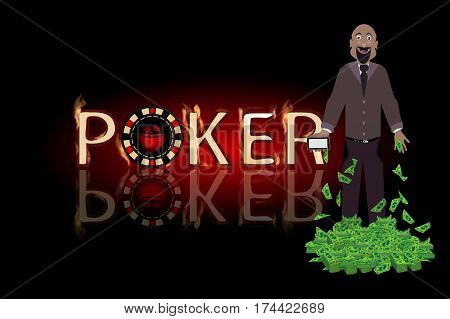Poker Win A Man A Lot Of Money. Concept Of Finance