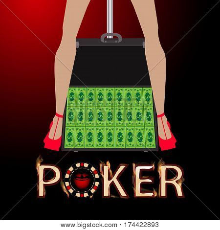 Poker Case With Money, Striptease Female Legs