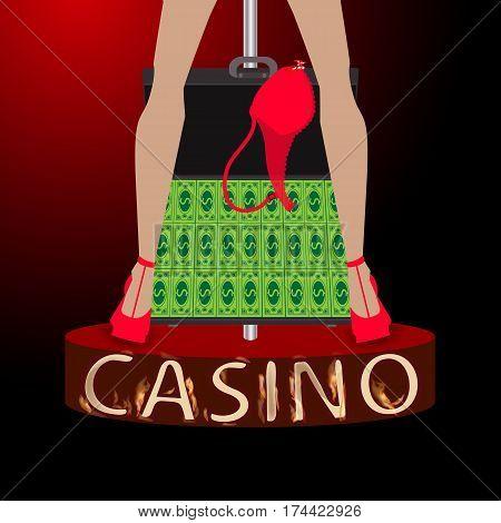 Casino Case With Money Woman S Legs Strip Bra