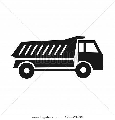 Tipper black icon. Tipper illustrations. Construction vehicles. Delivery of sand or stone. On a white
