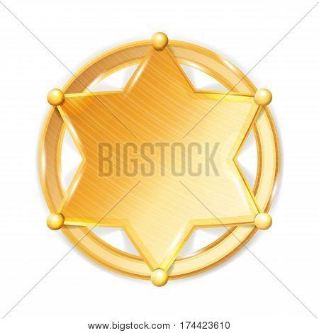 Sheriff Badge Star Vector. Police Golden Star Icon.