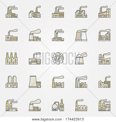 Factory and plant colorful icons. Factories and industrial buildings concept symbols or design elements