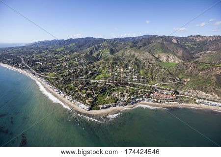 Aerial view of the Malibu Cove Colony area of Malibu, California.