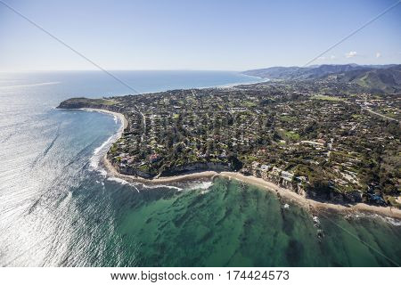 Aerial view towards Point Dume in Malibu California.