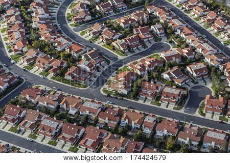 Aerial view of suburban homes in the Porter Ranch community of Los Angeles California.