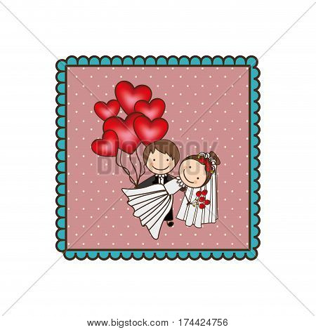 emblem married couple with red heart bombs, vector illustraction design