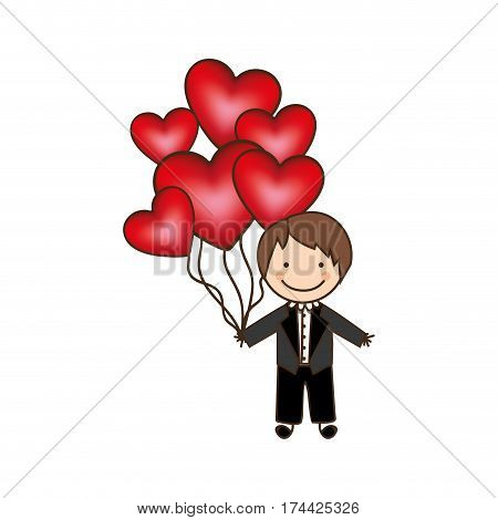 bridegroom with red heart balloons in his hand, vector illustraction