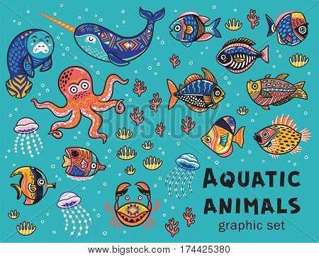 Vector set with octopus, seal, narwhal and fish in a cartoon style. Children s tropical illustration