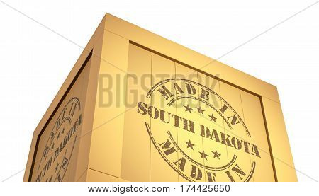 Import - Export Wooden Crate. Made In South Dakota. 3D Illustration