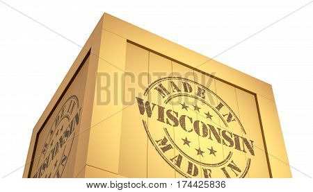 Import - Export Wooden Crate. Made In Wisconsin. 3D Illustration