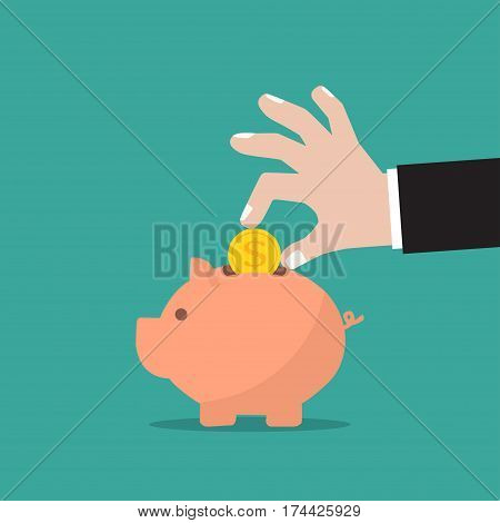 Piggy bank and businessman hand with coin in a flat design