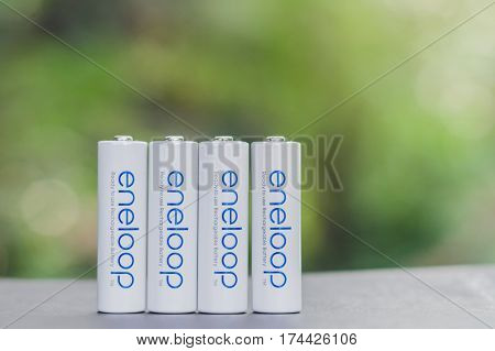 Bangkok Thailand - Mar 4 2017 : Eneloop batteries energy abstract. Manufactured by SANYO Electric CoLtd. JAPAN