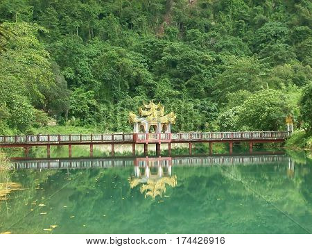 Bridge on a water lake to Hpa-An in Myanmar