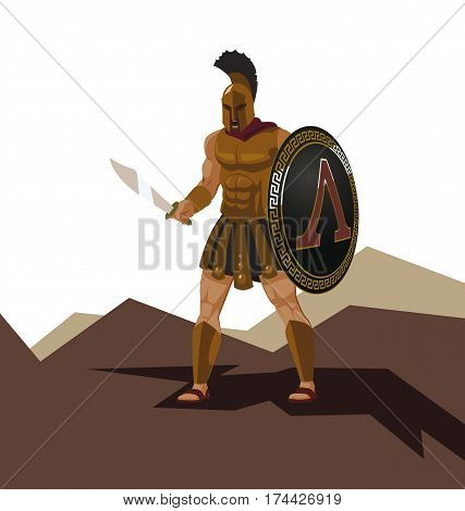 Angry spartan warrior with armor and hoplite shield holding a sword. Vector illustration