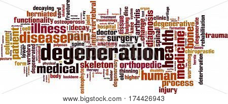 Degeneration word cloud concept. Vector illustration on white