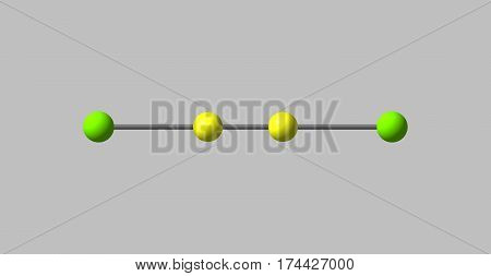 Dichloroacetylene or DCA or dichloroethyne is an oily pyrophoric liquid chemical compound with the chemical formula C2Cl2. 3d illustration