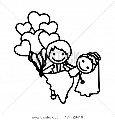 figure married couple with red heart bombs, vector illustraction design