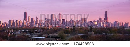 Colorful sunset in Chicago - panoramic view. Chicago Illinois USA.