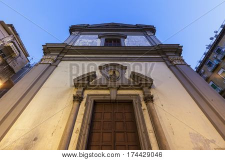 Church in Naples at sunset. Naples Campania Italy