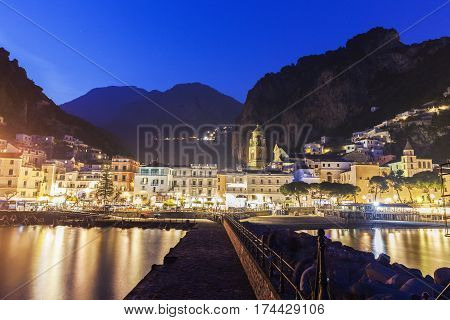 Architecture of Amalfi at evening. Amalfi Campania Italy.