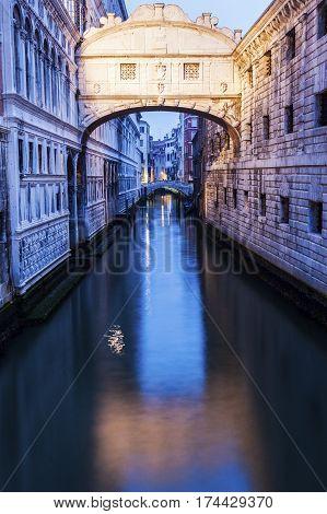 Bridge of Sighs in Venice seen at dawn. Venice Veneto Italy.