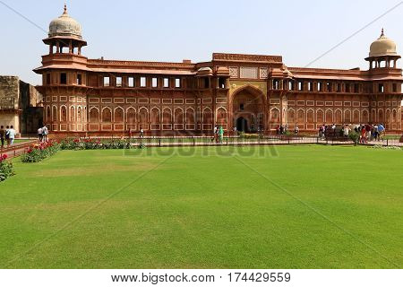 Red Fort - fortification in the city of Agra, which served in the era of the Mughal Empire residence of the rulers of India.