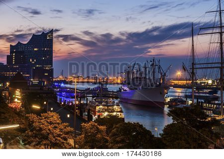 Hamburg - panorama of the port at sunrise. Hamburg Germany.