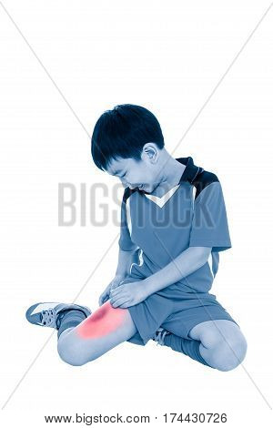 Full Body Of Asian Soccer Player With Pain At Thigh. Isolated On White Background.