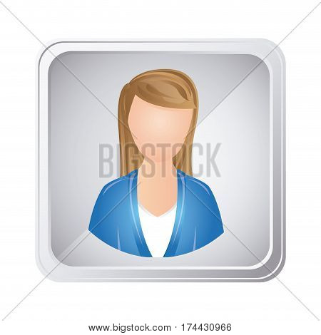 silver emblem technical support woman assistant, vector illustraction