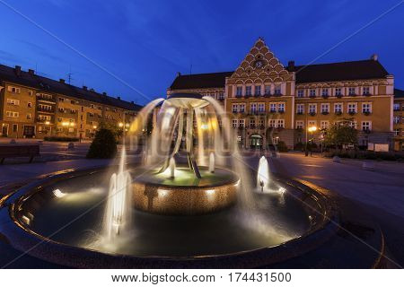 Town Hall (Mestsky Urad) on Main Square in Cesky Tesin. Cesky Tesin Moravian-Silesian Region Czech Republic.