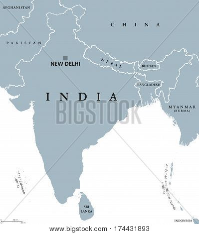 India political map with capital New Delhi, national borders and neighbor countries. Republic and subcontinent in South Asia. Gray illustration, English labeling. Isolated on white background. Vector.