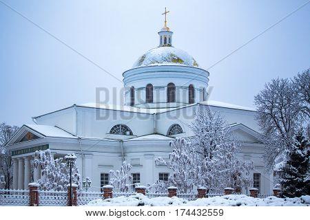 Transfiguration Cathedral in Bila Tserkva. Winter. Ukraine. Cold.