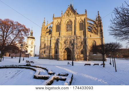 Former Jesuit College and St. Barbara's Church in Kutna Hora. Kutna Hora Central Bohemian Region Czech Republic.