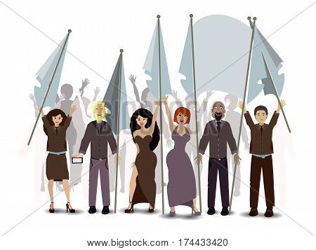 Parade. People With Flags. Illustration