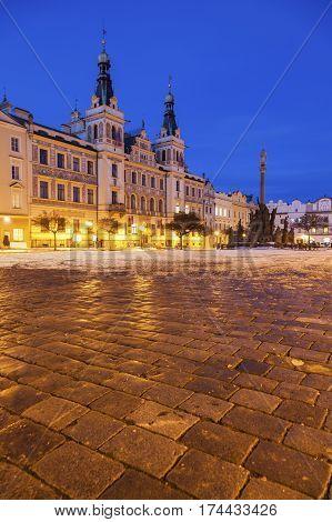 City Hall and Plague Column on Pernstynske Square in Pardubice. Pardubice Bohemia Czech Republic.