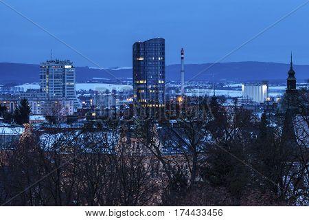 Panorama of Olomouc at nigth. Olomouc Olomouc Region Czech Republic.