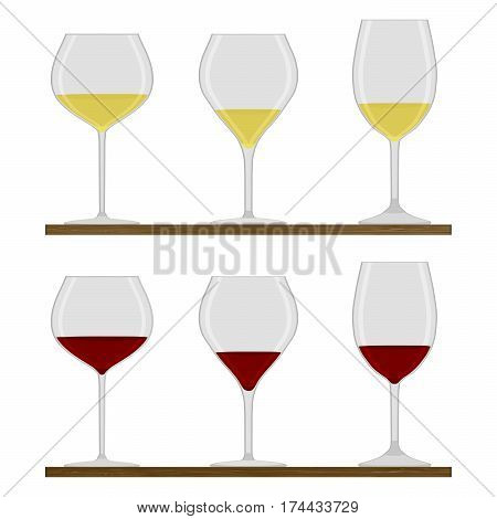 Vector illustration of logo for crystal wineglass wooden table isolated closeup background.Wineglass drawing consisting of alcohol liquid grape wines vines.Drink from glass wineglasses red white wine