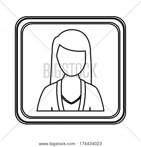figure silver emblem technical support woman assistant, vector illustraction