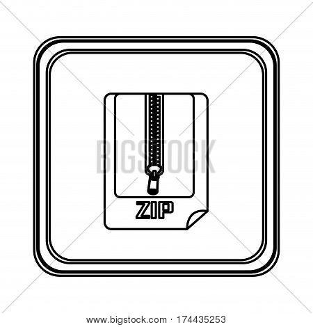 figure emblem laptop zip document icon, vector illustraction design