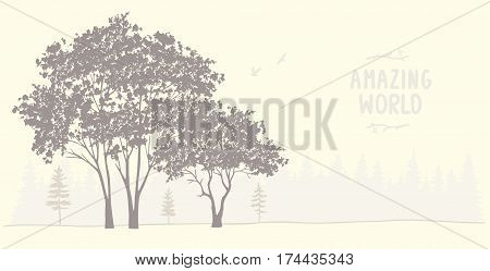 Beautiful and amazing silhouette of grunge tree. Stylish vector illustration. Panoramic view nature