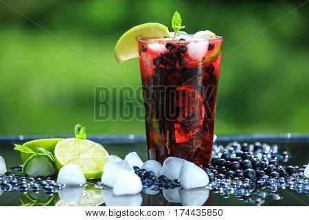 Cocktail, fresh, mint, bilberry, lime, ice, summer