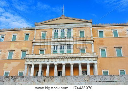 Greek Parliament on the nice day in Athens, Greece