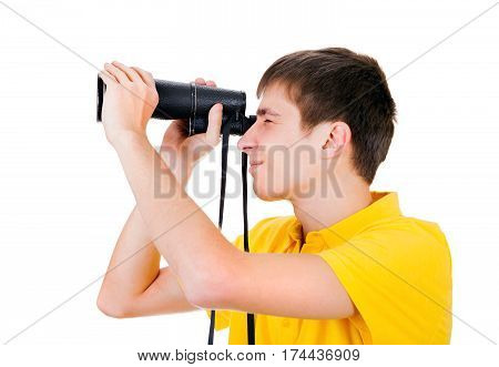 Young Man with Monocle Spying for Someone on the White Background